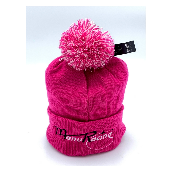 Bonnet a pompon rose team Manuracing brodé Adulte